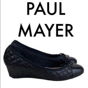 PAUL MAYER BLACK QUILTED LEATHER WEDGES SIZE 7.5